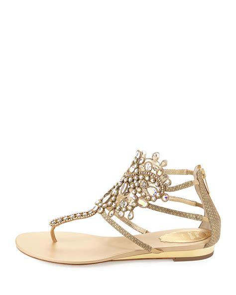 embellished flat sandals rene caovilla embellished leather sandals in