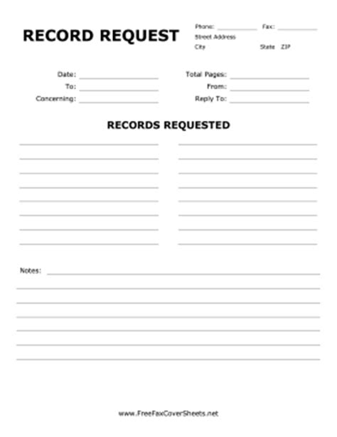 records request form template record request fax cover sheet at freefaxcoversheets net