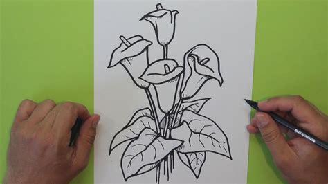 como hacer las flores de alcatras en una carpeta de gancho c 243 mo dibujar una flor cala alcatraz lirio de agua how