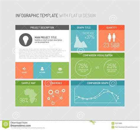 interface design template vector flat user interface infographic royalty free stock