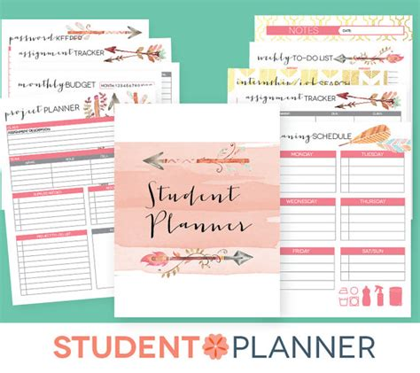 printable university planner college planner editable printables student academic