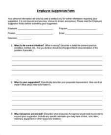 Employee Suggestion Form Template Free by Doc 460595 Employee Suggestion Form Employee