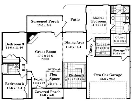 house plans 1700 sq ft 1700 square feet 3 bedrooms 2 batrooms 2 parking space on 1 levels house plan