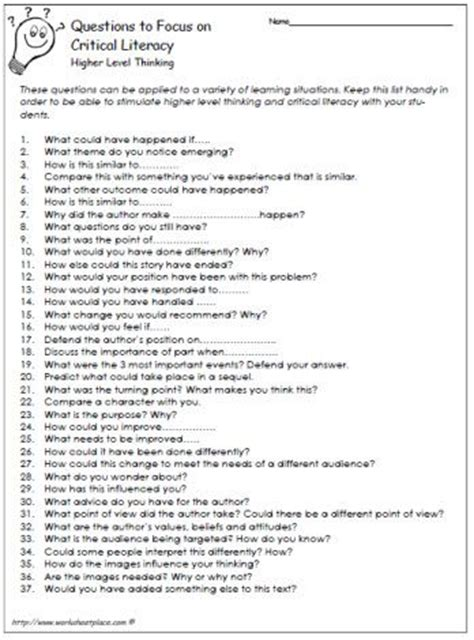 questions for critical literacy some types of questions