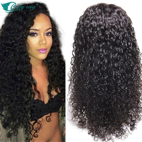 long black curly human hair wig unprocessed indian remy human hair wig lace front human