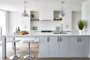 Extra Long Gray Kitchen Peninsula with Sink   Contemporary