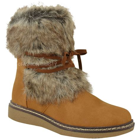 faux fur boots womens flat low wedge faux fur winter ankle boots
