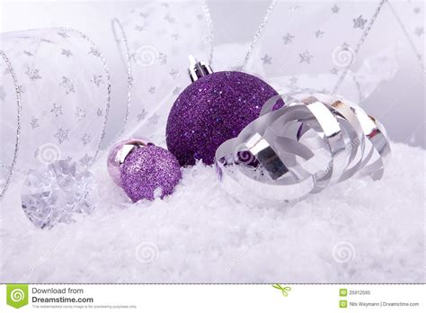 decorations purple and silver decoration purple silver on snow stock image