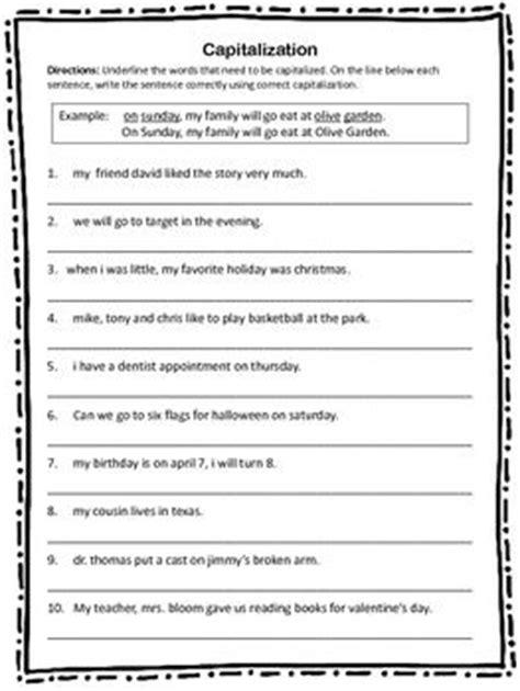 printable capitalization quiz capitalization worksheet 10 sentences with capitalization