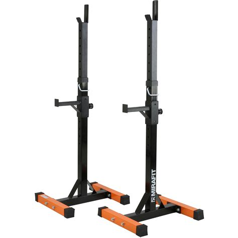 bench in squat rack mirafit 2pc adjustable barbell squat rack spotter stands