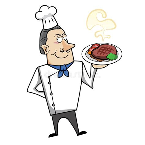 clipart cuoco chef with steak dinner stock vector illustration