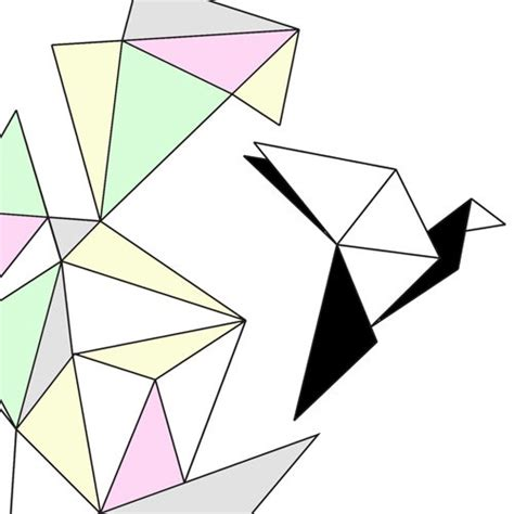 Geometrical Origami - free bird a4 print geometric origami pastel