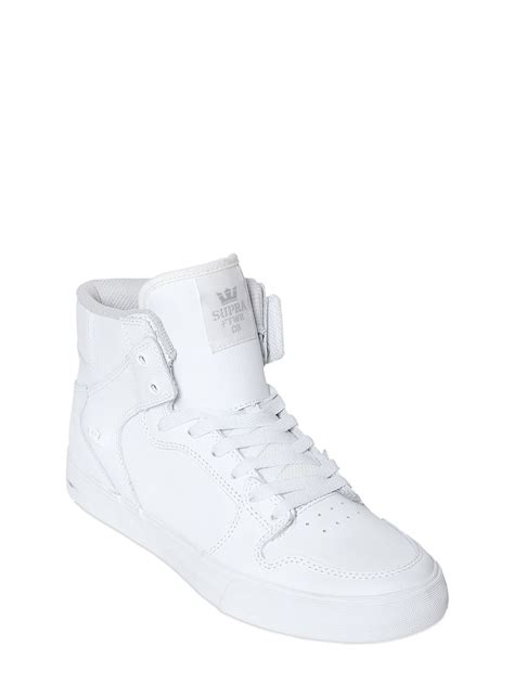 supra high top sneakers supra vaider leather high top sneakers in white lyst