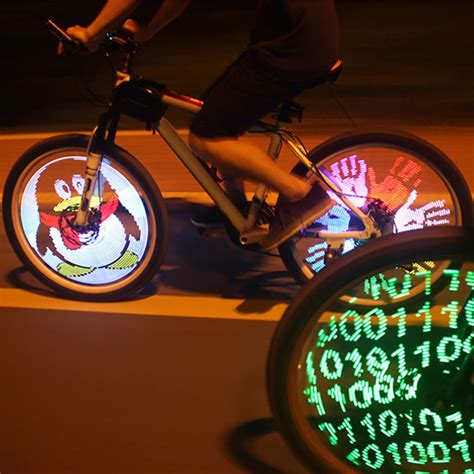 lights on wheels of a bicycle programmable 128 led mtb bike cycling bicycle wheel spoke
