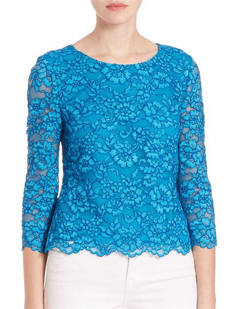 Blue Lace Top diane furstenberg krishna lace top in blue atlantis