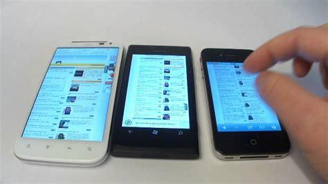 Handphone Htc Sensation Xl nokia lumia 800 htc sensation xl iphone 4 comparison of