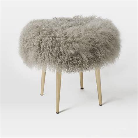 pink mongolian fur bench mongolian stool west elm
