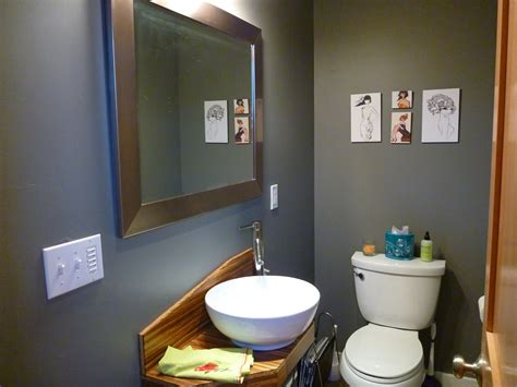 dark bathroom colors home tour powder room redux noshblog