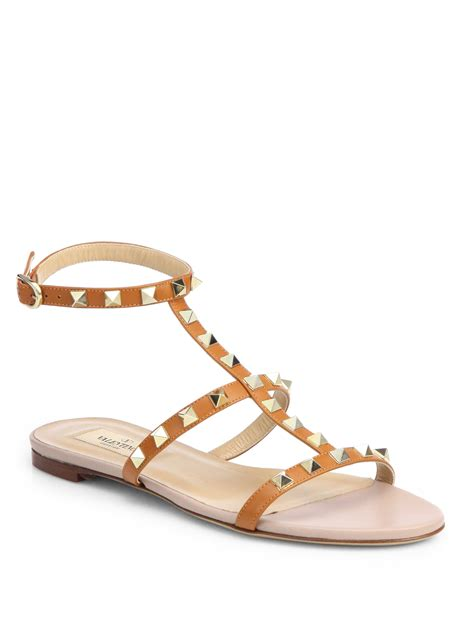 valentino gladiator sandals valentino rockstud leather gladiator sandals in gold