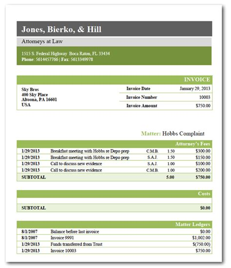 invoice template law firm hardhost info