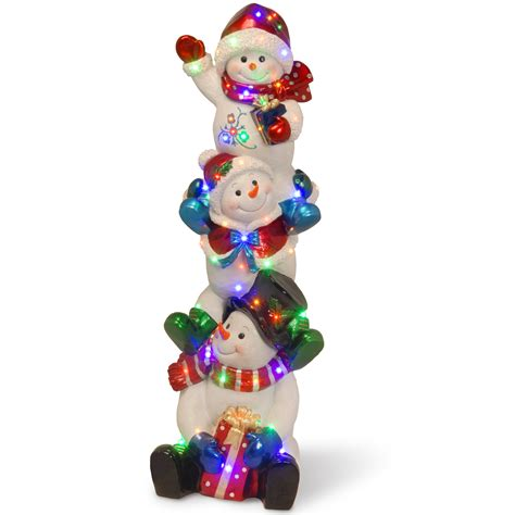 Lighted Reindeer Decorations by National Tree Company 61in Stacking Snowman Family With