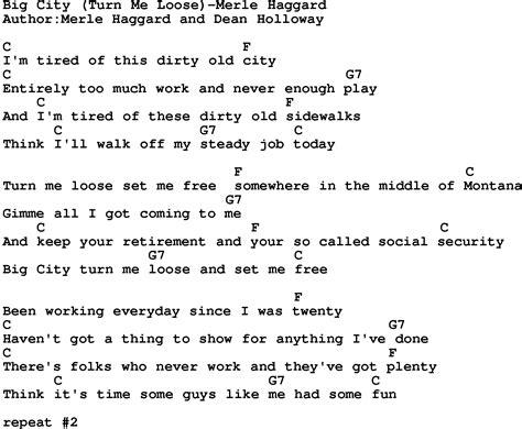 printable lyrics to harper valley pta country music song big city turn me loose merle haggard