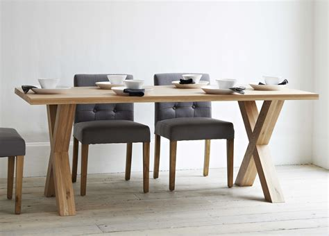 modern dining table with bench long rectangle brown wooden table with crossed legs