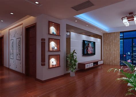 Wall Hung Kitchen Cabinets by Living Room Tv Wall And Display Cabinets Render Night