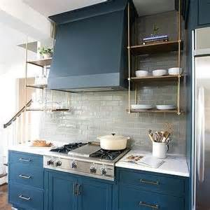 Suspended Kitchen Cabinets Wood And Brass Kitchen Shelves Suspended From The Ceiling Transitional Kitchen