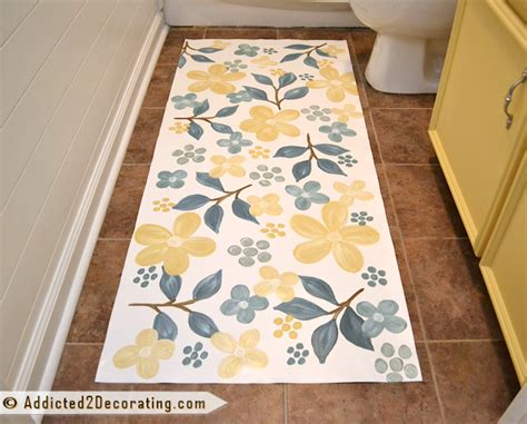 pretty painted floors with flower designs bathroom makeover day 17 floral hand painted floor cloth