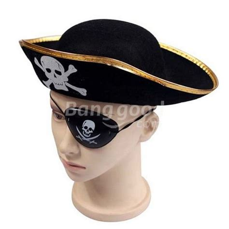 deal cool skull pattern flat pirate hat cap and eye