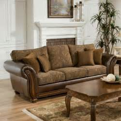 Simmons Leather Sofa Simmons Zephyr Vintage Leather And Chenille Sofa With Accent Pillows Traditional Sofas By