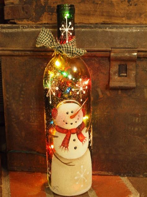 wine bottle handpainted with snowman colored lights