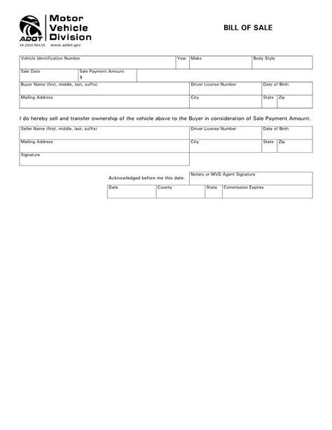 az auto sales free arizona vehicle bill of sale form pdf word