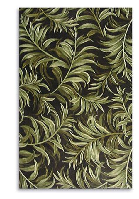 Leaf Pattern Rugs by Black And Green Hued Rug With Leaf Pattern Made In India