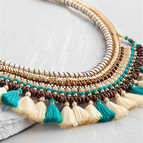 Tassel Statement Necklace ivory and turquoise tassel statement necklace world market