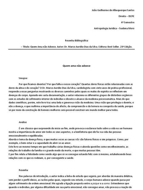 Quem Ama Não Adoece- Análise Do Livro - ID:5c5b43d597f12