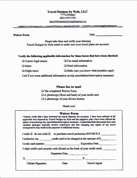 waiver and release form template travel waiver form template template update234