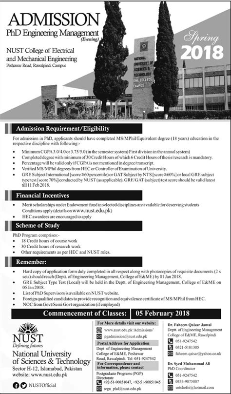Nust Executive Mba Admission 2017 by National Of Sciences And Technology Nust