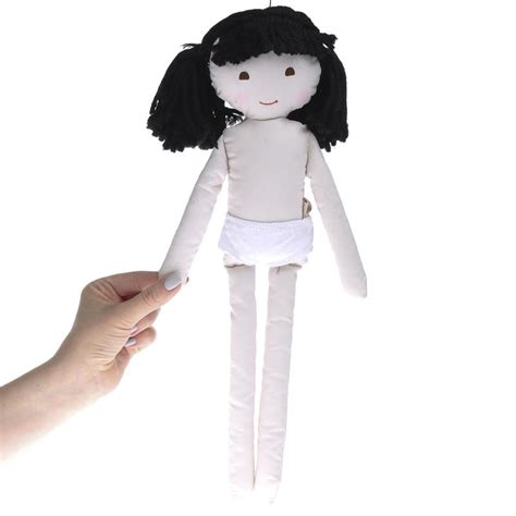 rag doll with hair muslin rag doll with black yarn hair muslin dolls and