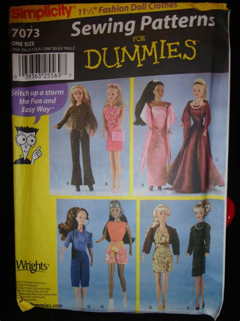 patterns sewing for dummies simplicity sewing pattern for dummies 7073 barbie 11 189