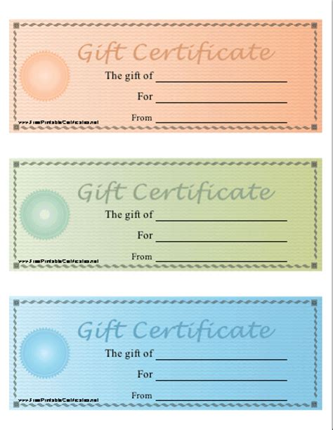 printable gift certificates for stores blank printable gift certificate