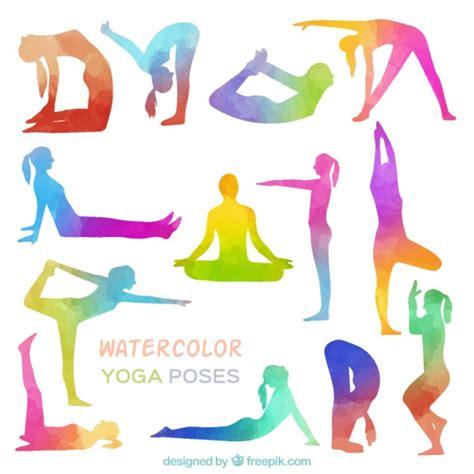 imagenes yoga vector posturas de yoga de acuarela descargar vectores gratis