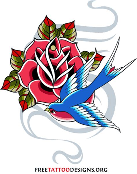 swallow and rose tattoo designs traditional designs