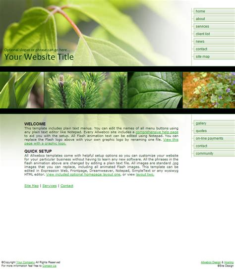 templates of website greenscape business web templates nature theme exle