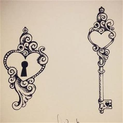 heart and key tattoo designs for couples i you to the moon and back design