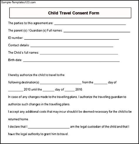 sle child travel consent form sle templates
