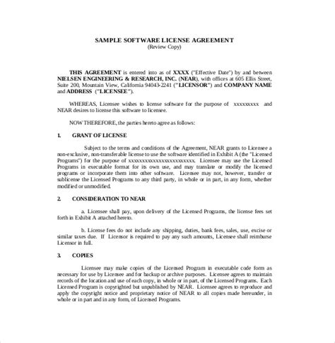 software contract agreement template software license agreement templates contract templates