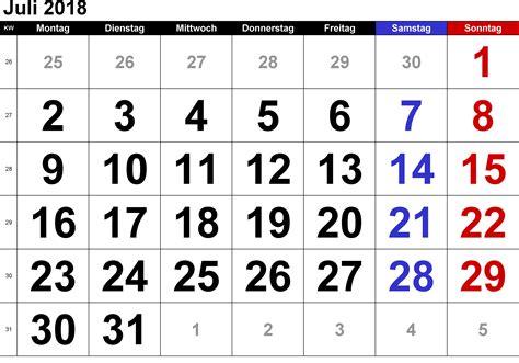Kalender 2018 Juli August Kalender Juli 2018 Zum Ausdrucken Pdf Excel Word