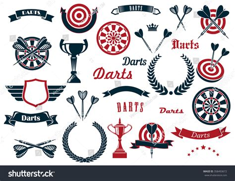 game design elements in vector from stock 2 darts sport game design elements items stock vector
